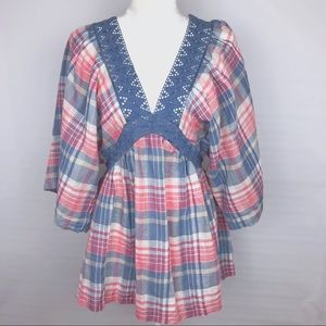 NWOT Free People Size Small Plaid Peasant Blouse
